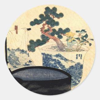 盆栽, 北斎 Bonsai, Hokusai, Ukiyo-e Runder Aufkleber