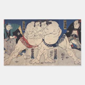 相撲, 国芳 Sumo-Wrestling, Kuniyoshi, Ukiyo-e Rechteckiger Aufkleber