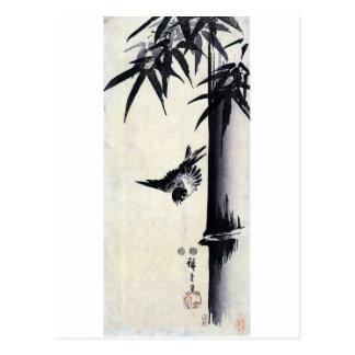 竹に雀, 歌川広重 Bambus u. Spatz, Hiroshige, Sumi-e Postkarte