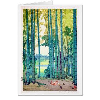 竹林, Bambuswaldung, Hiroshi Yoshida, Holzschnitt Karte
