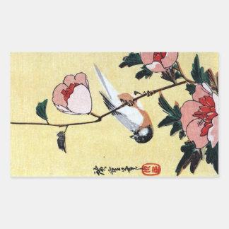 花に鳥, 広重 Vogel und Blume, Hiroshige, Ukiyo-e Rechteckiger Aufkleber