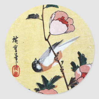 花に鳥, 広重 Vogel und Blume, Hiroshige, Ukiyo-e Runder Aufkleber