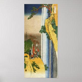 葛飾北斎 Li PO am Wasserfall Lo-Shan Hokusai Plakatdruck