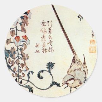 藤にセキレイ, 北斎 Wagtail und Glyzinien, Hokusai, Ukiyo-e Runder Aufkleber