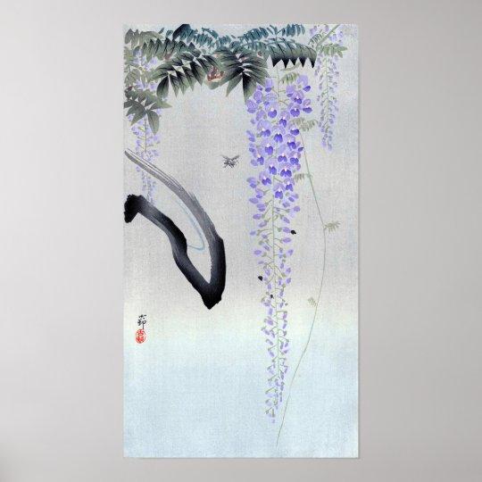 藤の花, 古邨 blühende Glyzinie, Ohara Koson, Poster