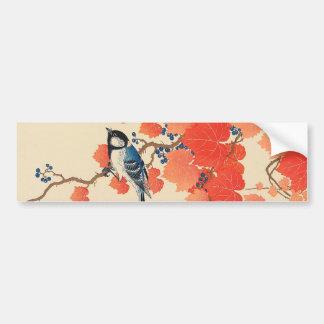赤い蔦に鳥, 古邨 Vogel auf rotem Efeu, Koson, Ukiyo-e Autoaufkleber
