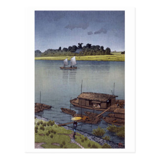 雨の荒川, 川瀬巴水 Sommer-Regen, Arakawa, Hasui Kawase Postkarte