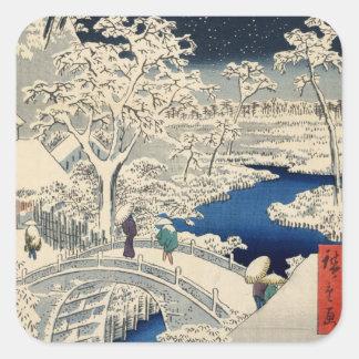 雪の太鼓橋, 広重 Snowy-Trommelbrücke, Hiroshige, Ukiyo-e Quadratischer Aufkleber