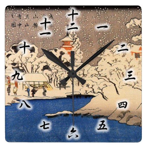 雪の浅草, 国芳 Snowy Asakusa, Kuniyoshi, Ukiyo-e Uhren