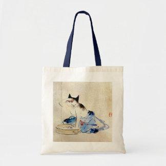 顔を洗う猫, 広重 Katzen-Gesichts-Wäsche, Hiroshige Tasche