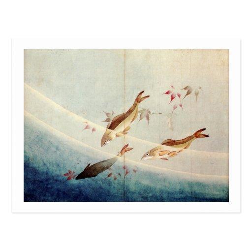 鮎, 北斎 Sweetfish, Hokusai, Kunst Postkarten