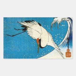 鶴と波, Kran u. Welle, Hiroshige, Ukiyo-e Rechteckiger Aufkleber