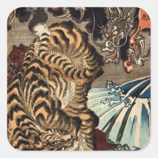 龍虎, 国芳 Tiger u. Drache, Kuniyoshi, Ukiyo-e Quadrataufkleber