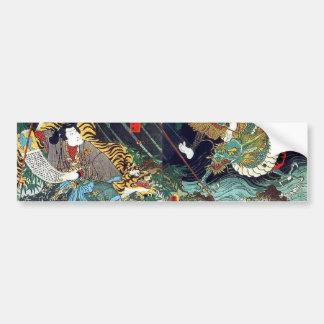 龍虎, 豊国 Drache u. Tiger, Toyokuni, Ukiyo-e Autoaufkleber