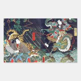 龍虎, 豊国 Drache u. Tiger, Toyokuni, Ukiyo-e Rechteckiger Aufkleber
