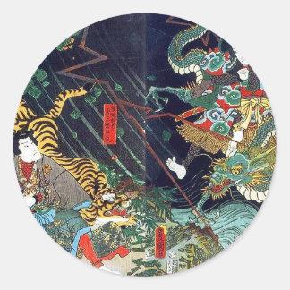 龍虎, 豊国 Drache u. Tiger, Toyokuni, Ukiyo-e Runder Aufkleber