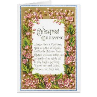 039 Vintages Weihnachtskarten-BlumenBlumen-Gedicht Grußkarte