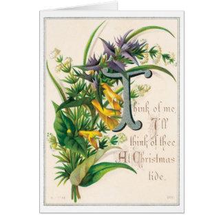 040 Vintage Weihnachtskarten-Gedicht-Poesie-Blumen Grußkarte