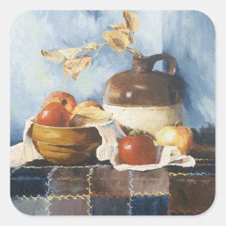0541 Äpfel u. Tonware auf Steppdecken-Aufklebern Quadratischer Aufkleber