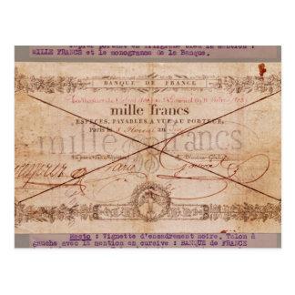 1000 Franken Banknote von 8 Floreal, ein X Postkarte