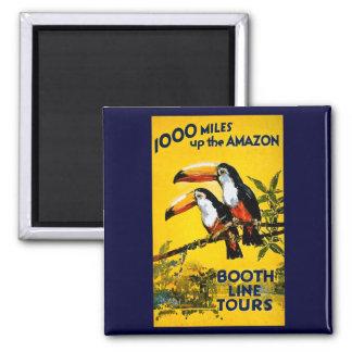 1000 Meilen herauf das Vintage Reise-Plakat Quadratischer Magnet
