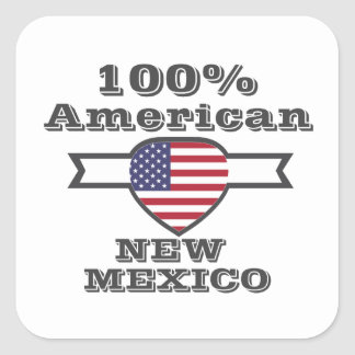 100% Amerikaner, New Mexiko Quadratischer Aufkleber