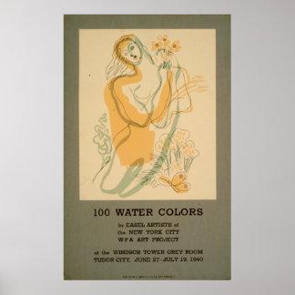 100 Aquarell-Ausstellung New York City WPA 1940 Poster