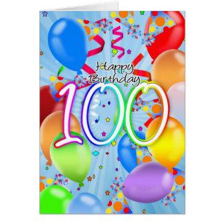 100. Geburtstag - Ballon-Geburtstags-Karte - Karte