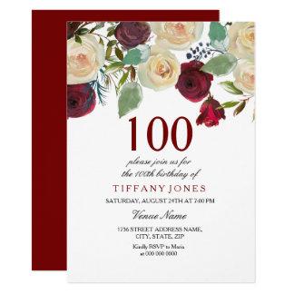 100. Geburtstag roter Champagne weißer Rosen Karte