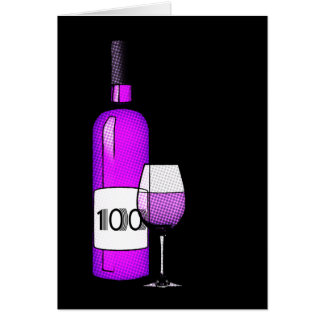 100. Geburtstag: Weinflasche u. -glas Karte