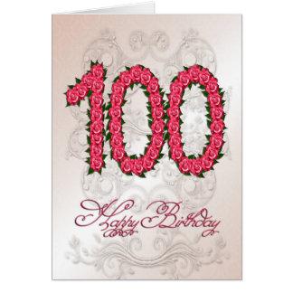 100. Geburtstagskarte mit Rosen und Blätter Karte