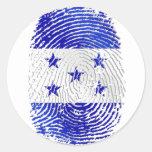100% Honduranerflagge von Fingerabdruck Hondurass Runde Sticker