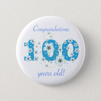 100 Jahre alte Geburtstagsglückwunsch-Knopf Runder Button 5,7 Cm