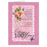 100 Jahre alte Grußkarte - Rosen und butterflie