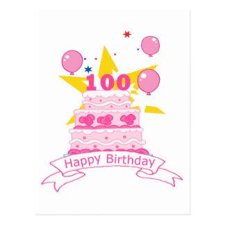 100 Jährig-Geburtstags-Kuchen Postkarte