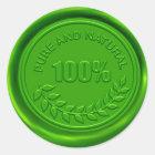 100% reines u. natürliches Wachs-Siegel Runder Aufkleber