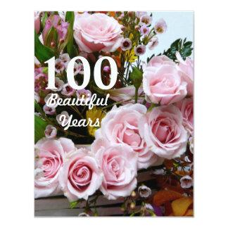 100 schöne Jahre! - Geburtstags-Party/rosa Rosen Karte