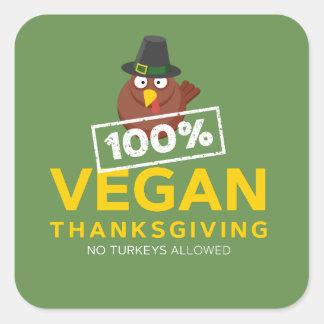 100% veganes Erntedank-Abendessen. Keine Truthähne Quadratischer Aufkleber