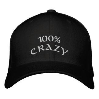 100% verrückt bestickte baseballkappe