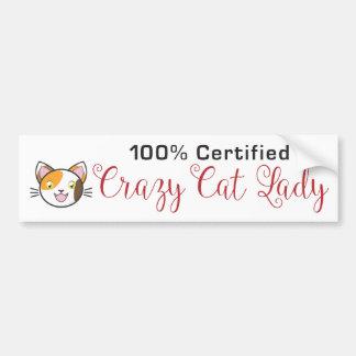 100% zugelassene verrückte Katzen-Dame Autoaufkleber