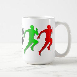 100m 200m 400m 800m Läufer-Laufen laufen gelassen Kaffeetasse