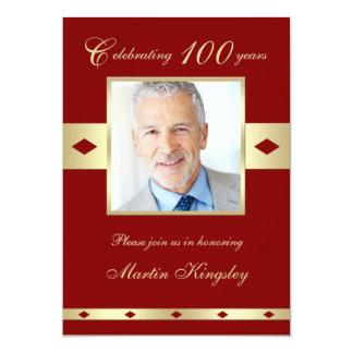100th Foto-Geburtstags-Party Einladung Burgunder