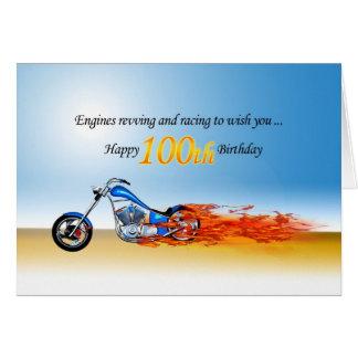 100th Geburtstag mit einem lodernden Motorrad Karte