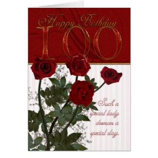 100th Geburtstags-Karte mit Rosen Karte