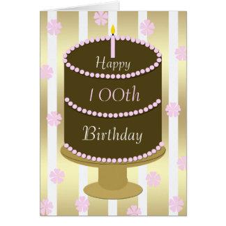 100th Geburtstags-Karten-Kuchen im Rosa Karte