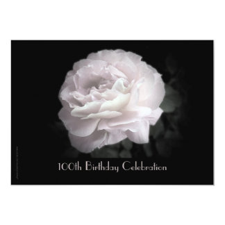 100th Geburtstags-Party Einladung blaß - rosa Rose