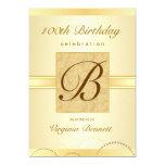 100th Geburtstags-Party-Golddamast-Monogramm Einladungskarte