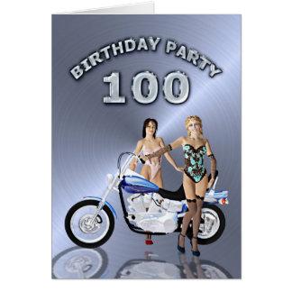 100th Geburtstags-Party mit Mädchen und Motorrad Karte