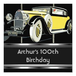 100th Geburtstags-Party-Schwarz-Vintages Auto Karte