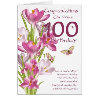 100th Geburtstags-rosa Krokus und Schmetterling Karte